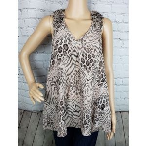 Rebecca Taylor Animal Print 100% Silk Blouse